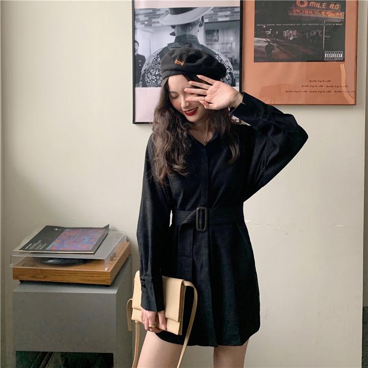 ウエストベルト シャツワンピ 4color オルチャンフアッション 韓国服 TA0317