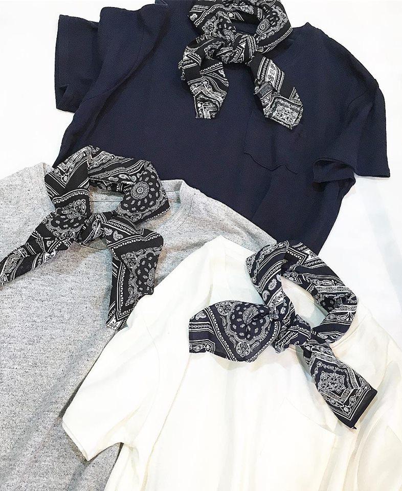 S/S NEW バンダナスカーフSETシンプルTシャツ