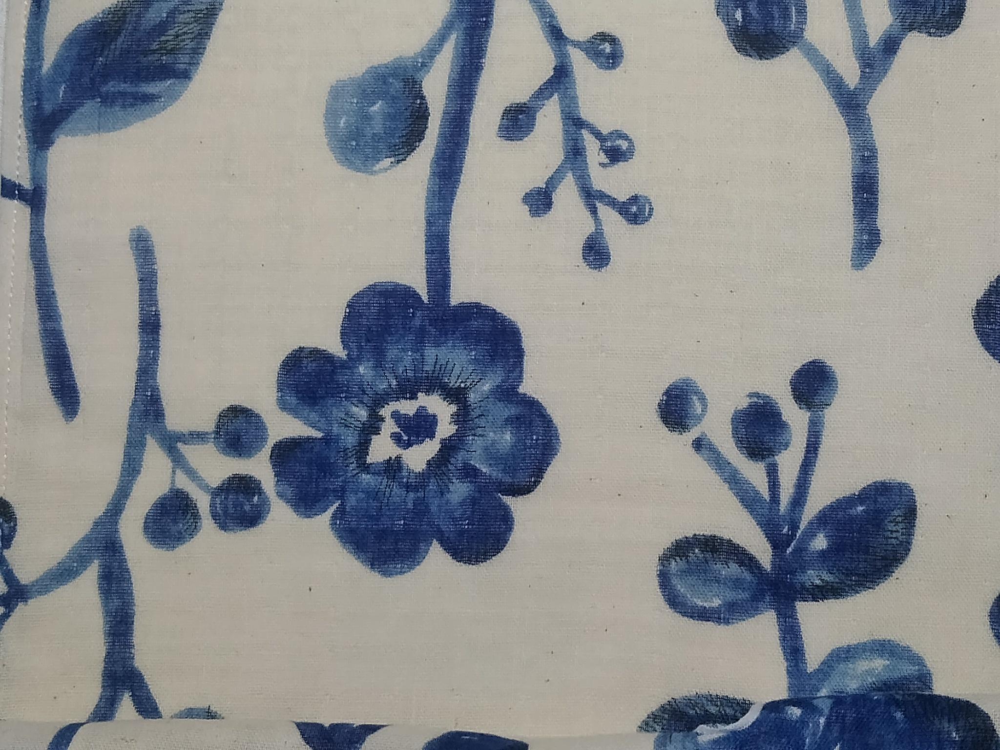 ダブルガーゼの最新パンツ!/白地に青花と鳥/特許取得済み