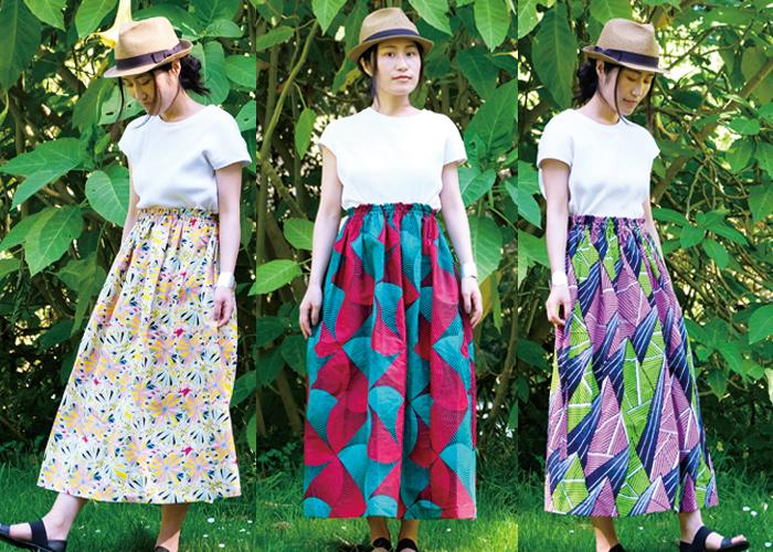 ロング丈でゆったりリラックスな着心地!アフリカンプリントのギャザースカート
