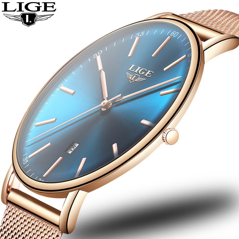 【レディース腕時計】ブルーの文字盤に薄型のアナログ腕時計【薄型】