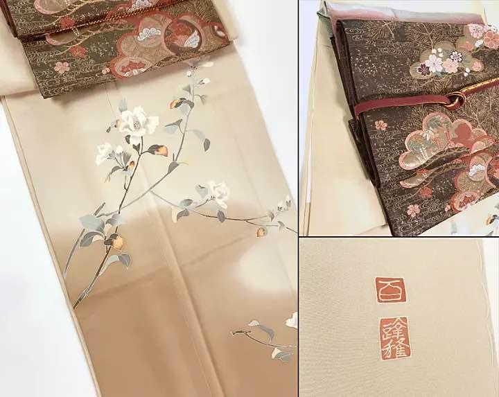 京加賀友禅巨匠 「百貫達雄」作の訪問着、上品さのある訪問着は飽きのこない芸術品