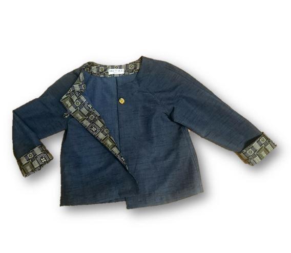11*紬リメイクショートジャケット(紺)