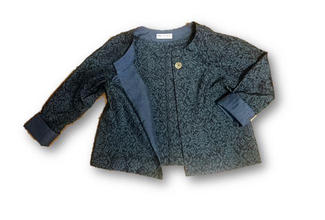 12*大島紬リメイクショートジャケット(紺×青・アラベスク風)