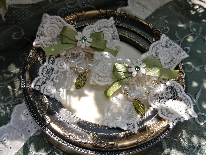 【crochet-sketch】レースリボンヘアクリップ-緑のおリボンのご紹介