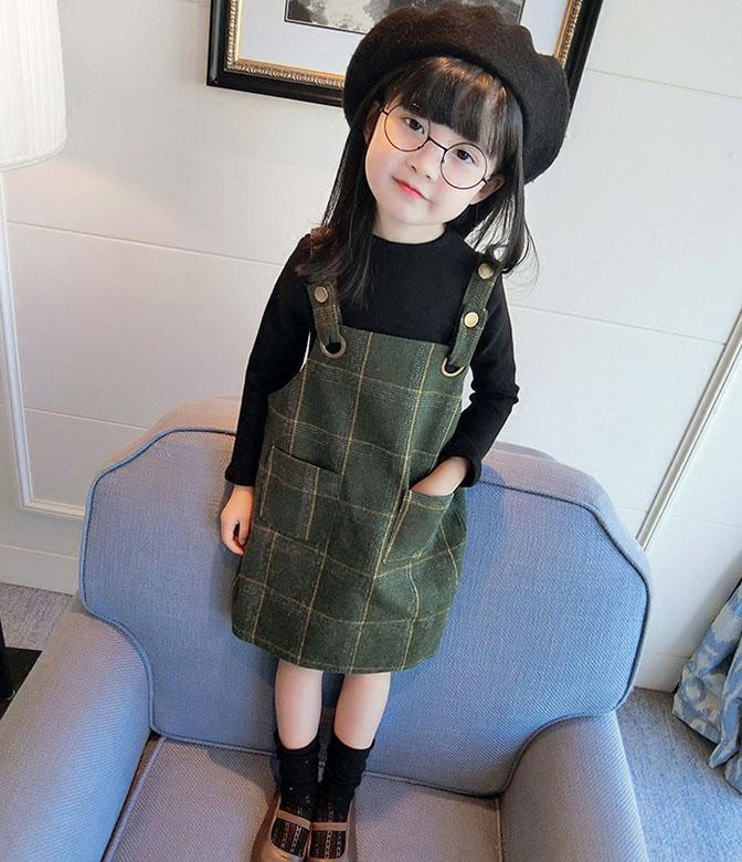 【子供服】チェック柄サロペットスカート+長袖Tシャツ 二点セット
