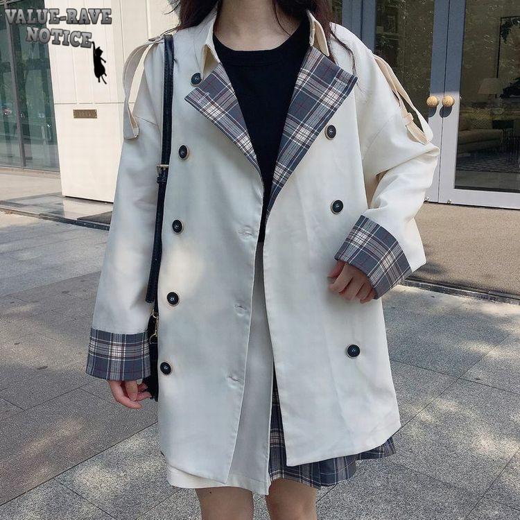 【セットアップ】チェック柄デザインが可愛いジャケット+バイカラー仕上げのスカート♪