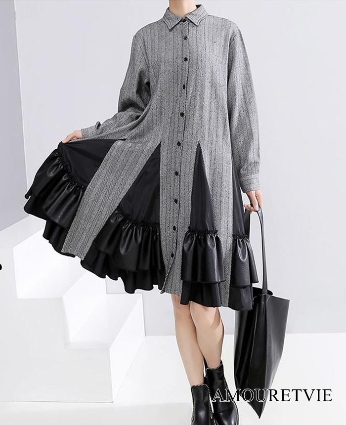 スカートが印象的なワンピースです☆爽やかさとモノトーン調のカラーが醸し出す大人の魅力あふれる一着★