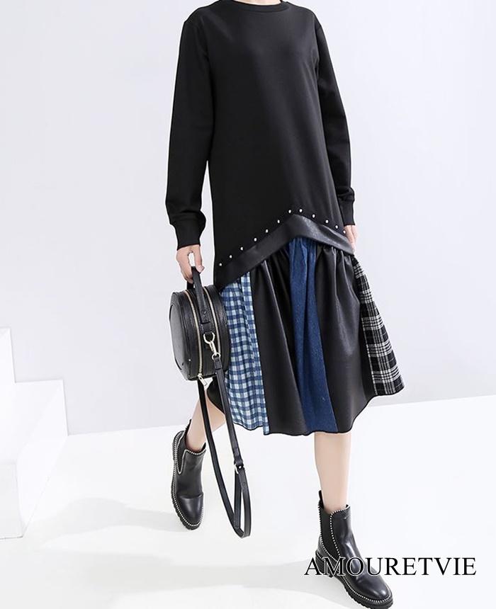 シンプルなトップスと個性のあるスカートの融合ワンピ♪手間いらずで簡単オシャレの代表格★
