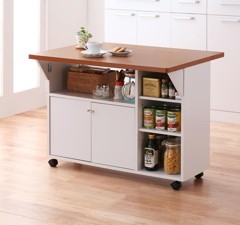 収納×キャスター×バタフライテーブル=快適なキッチン!使い方自由自在のバタフライカウンターワゴン