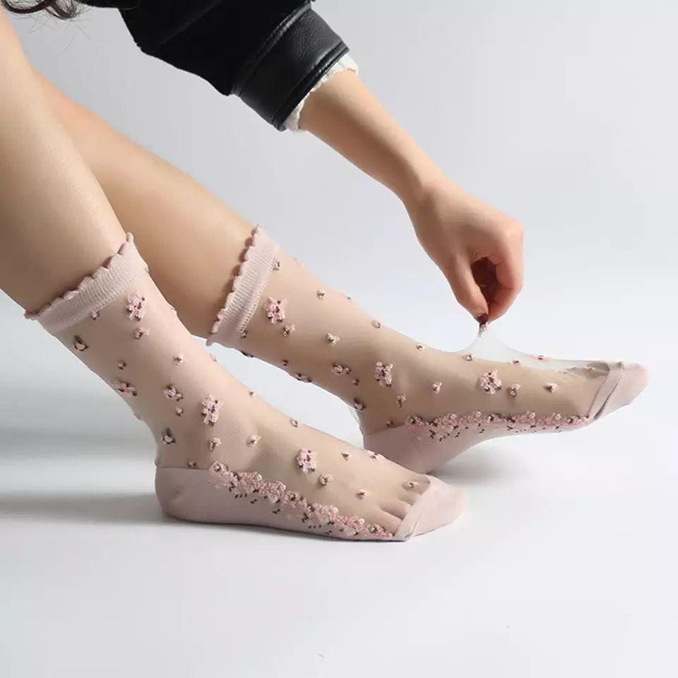 ¥ 550 シースルー 靴下 ソックス 花柄 花刺繍