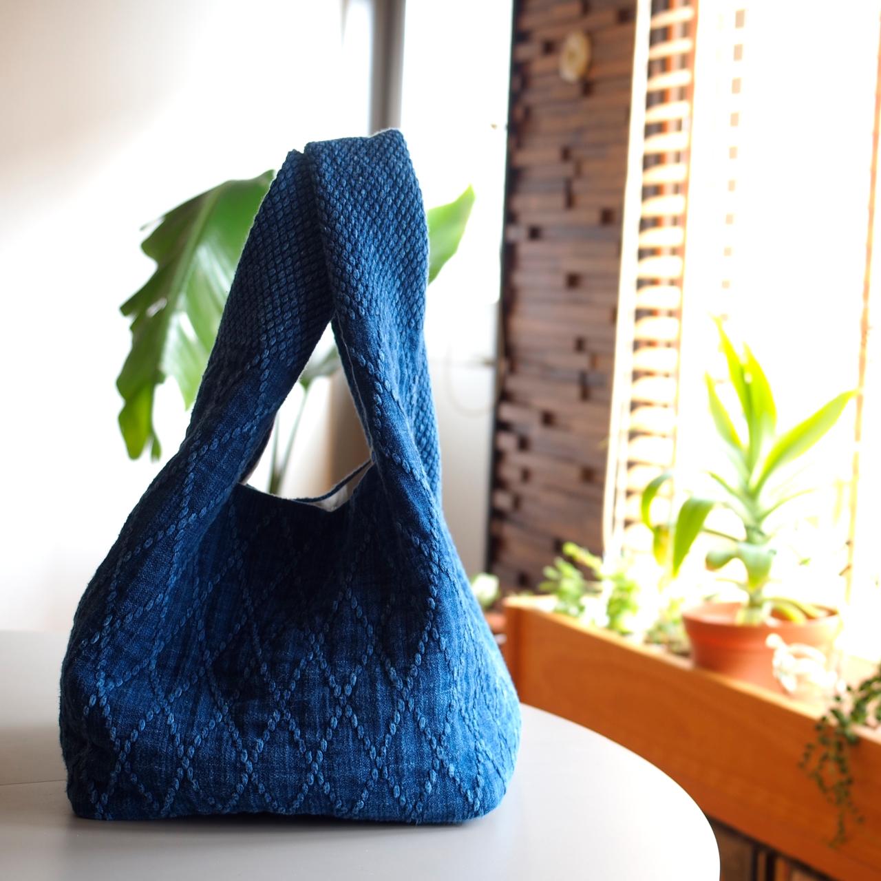 藍染 刺子生地のおしゃれなバッグ! 剣道着にも使用される生地で、丈夫で経年変化も楽しめる!