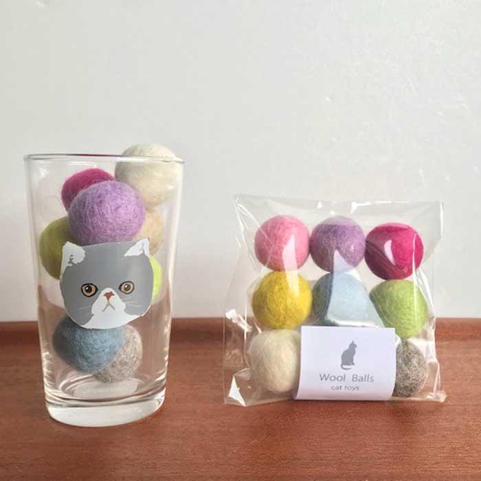 ★リピート率NO1!★猫が喜ぶおしゃれなカラーの猫のおもちゃのフェルトボール!