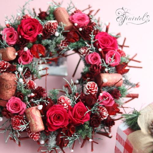 冬のお部屋を灯す 色とりどりの紅が魅せるブリザーブドリース【ペチカ・pechka】