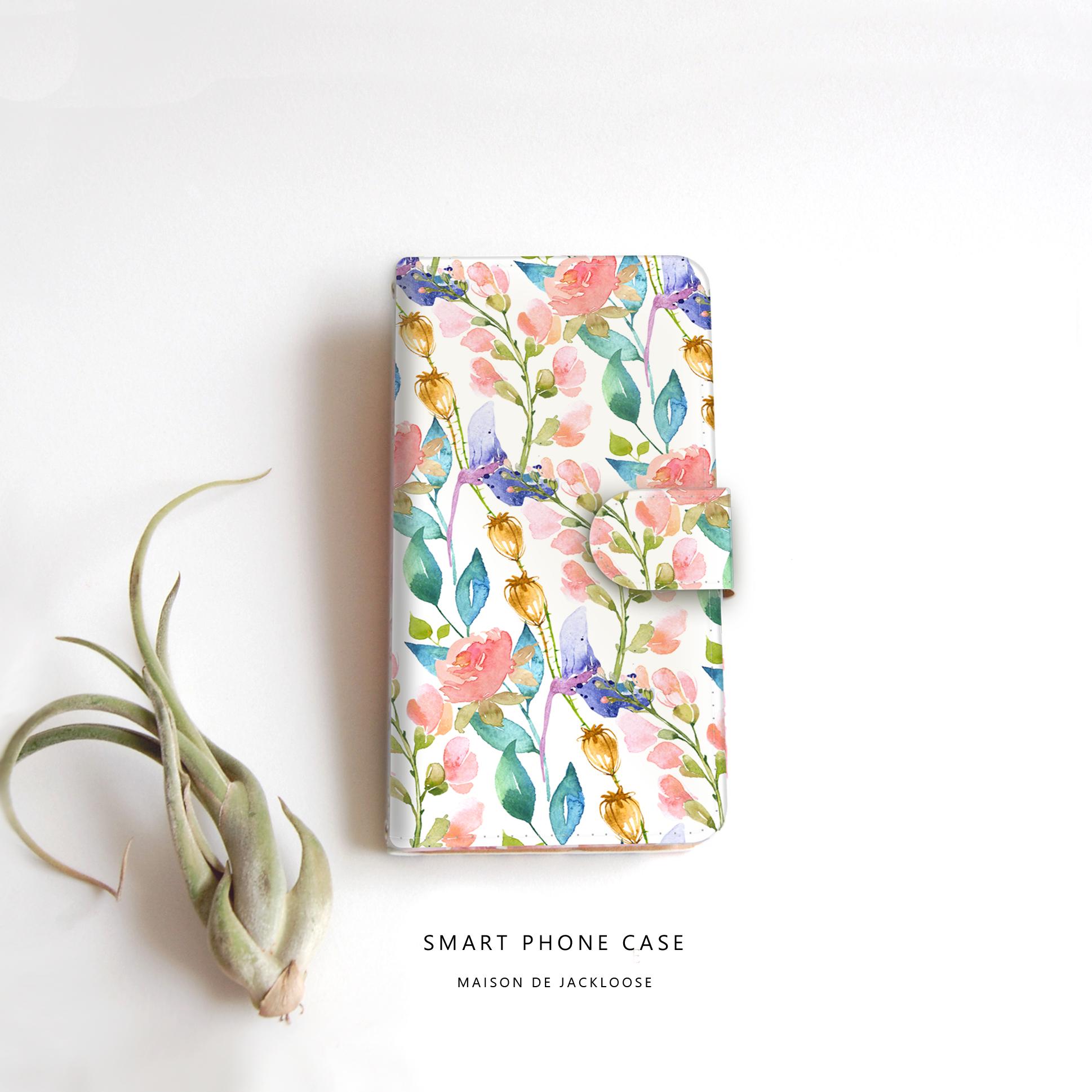 優しく香るローズガーデン水彩♪ワンランク上の色鮮やかなボタニカルスマホ手帳型。