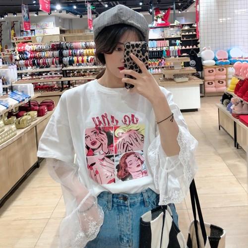 着やすさは抜群。新作韓国系ゆったりレースプリント長袖Tシャツ