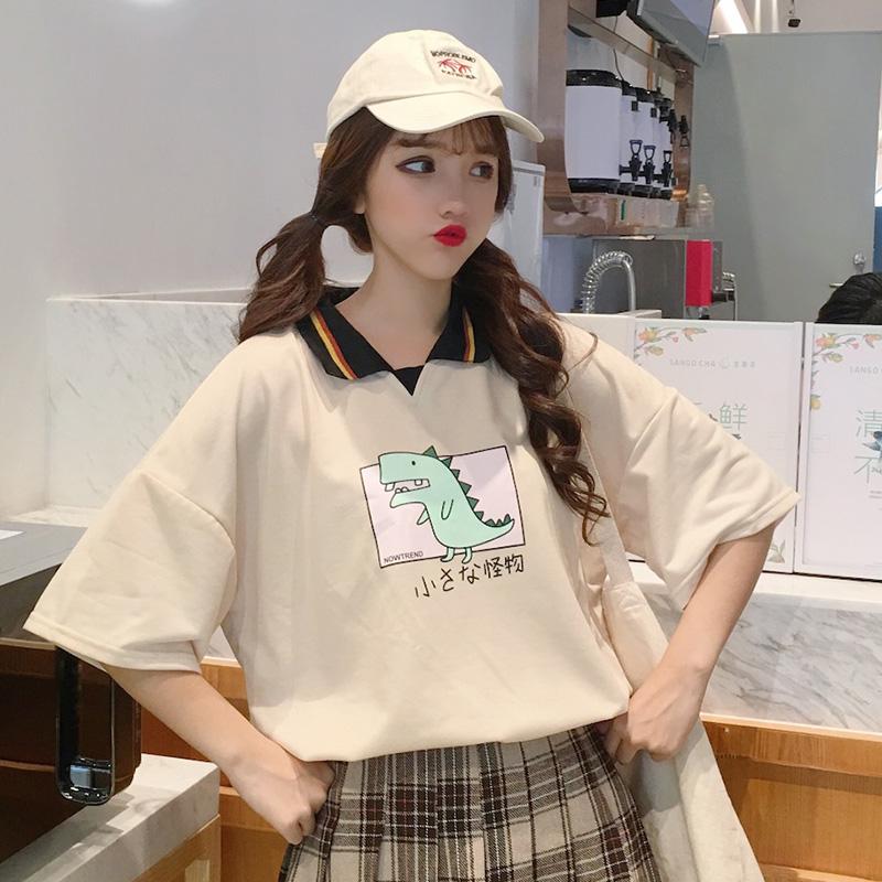 🍓🍓キュート清新学園風POLOネック切り替え配色カジュアル半袖Tシャツ🥝🥝
