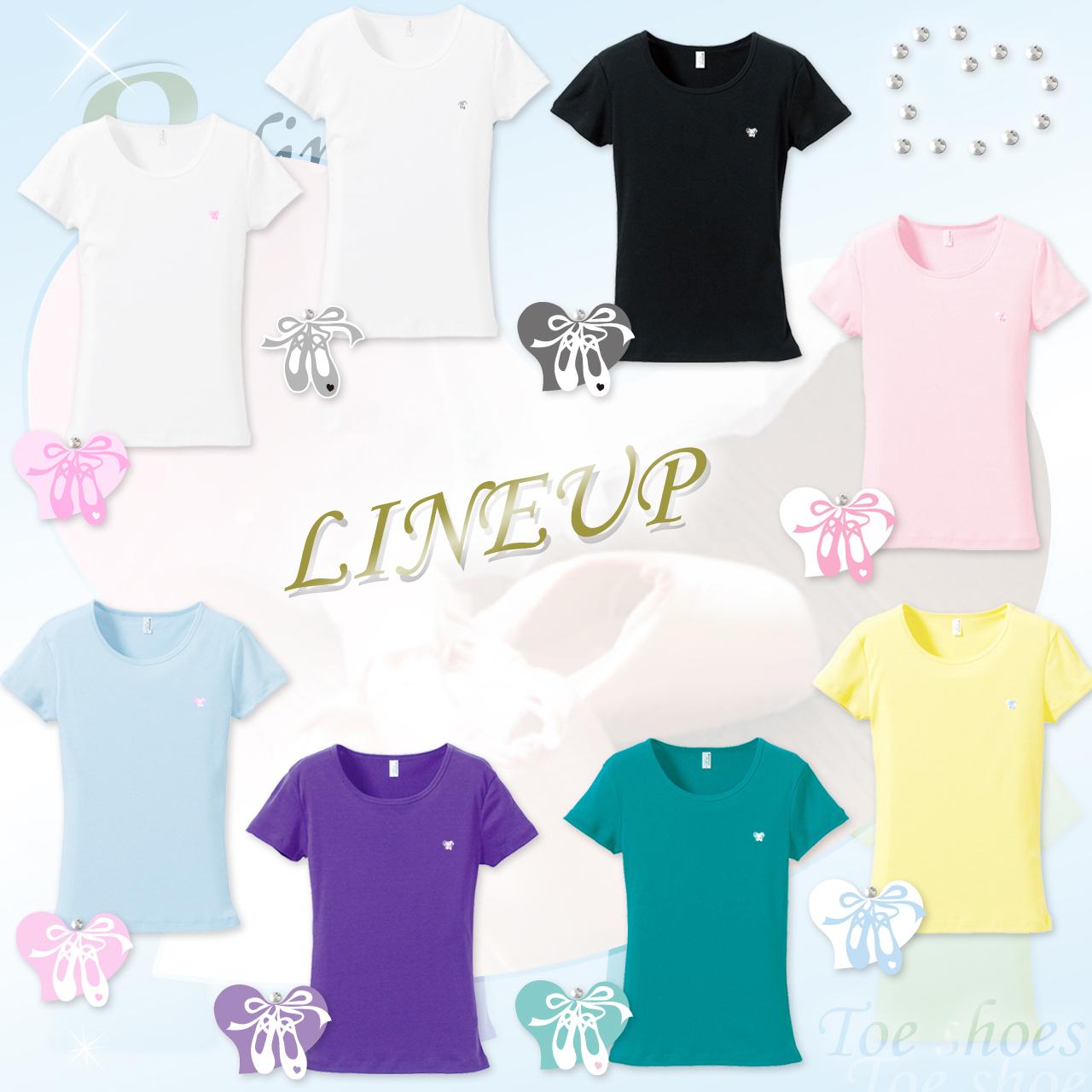 さりげなさが◎♪ トウシューズ+ラインストーン付 Tシャツ 〈全8種〉バレエ♪ [フライスTシャツ]