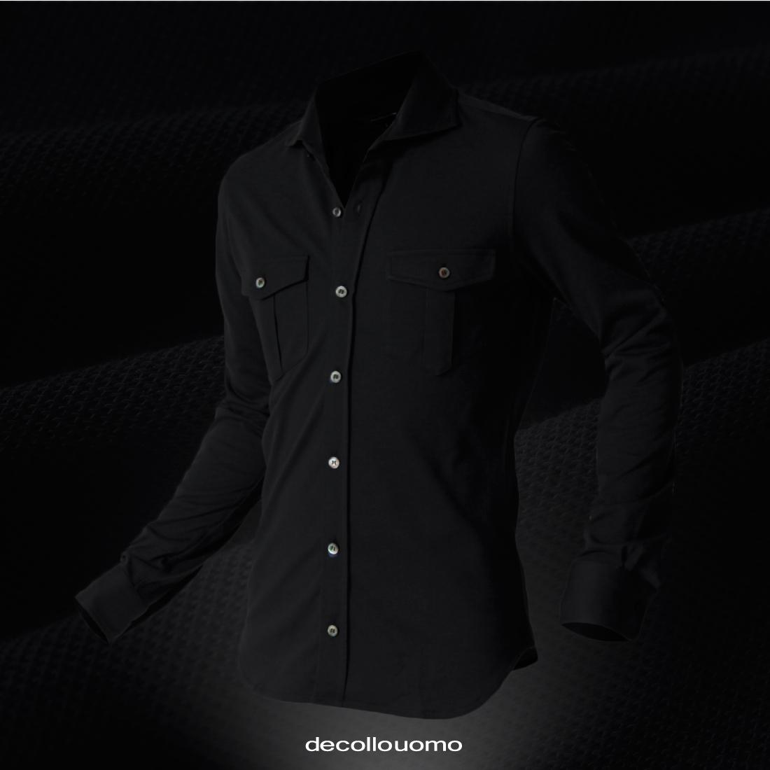 【日本製のパフォーマンス力】decollouomoデッコーロウォモの漆黒BLACKOUTシャツ!!
