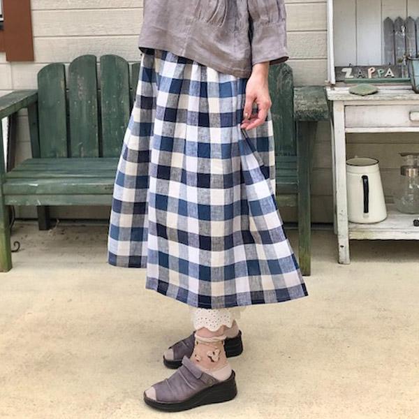 リネン生地で夏も快適♡スカートみたいなギャザーパンツ