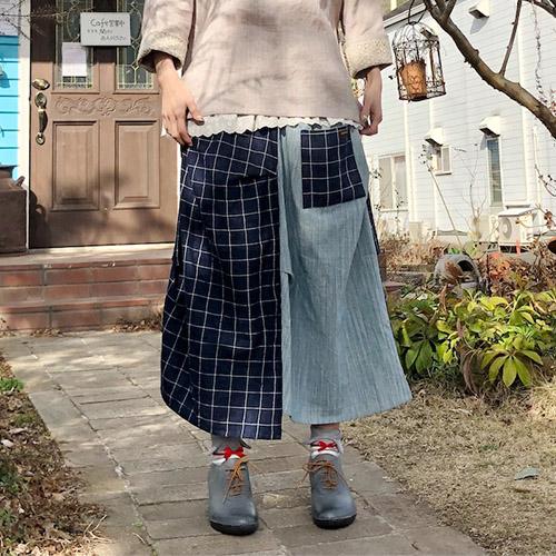 優しい風合いが春にぴったり♡草木染めのパッチワークスカート