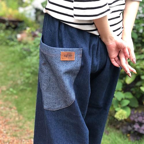 ポケットがぽっこり♪リラックスできる柔らかデニムパンツ。