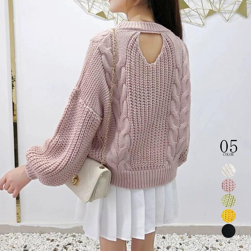 ケーブル編み ニットセーター