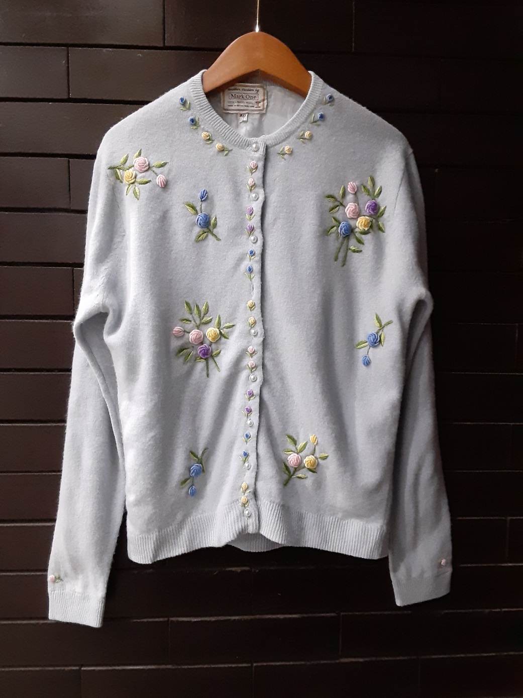 50's~60's Flower Embroidered Cardigan