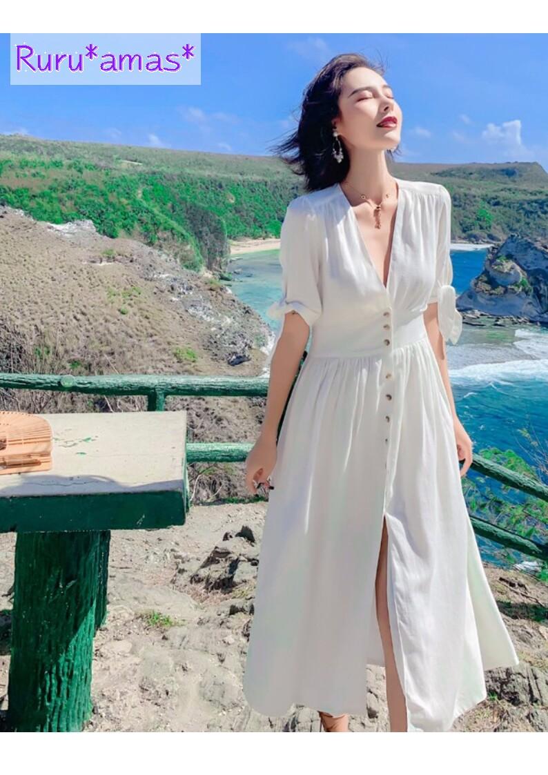 この夏★開放的に。ホワイトシャツワンピで自然の風に吹かれて.。+*
