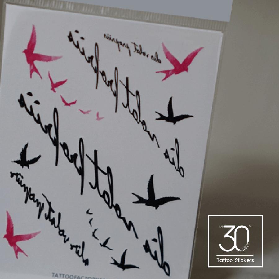 Pink bird タトゥーシール (感性デザイン) [Lサイズ]