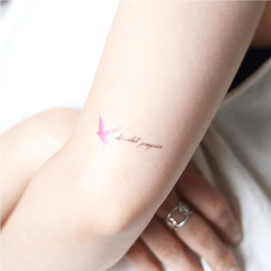 Pink bird ピンク 鳥 タトゥーシール (感性デザイン) [Lサイズ]