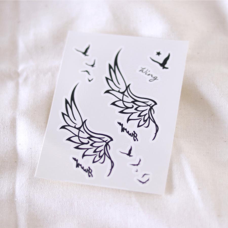 翼 鳥 タトゥーシール (感性デザイン)