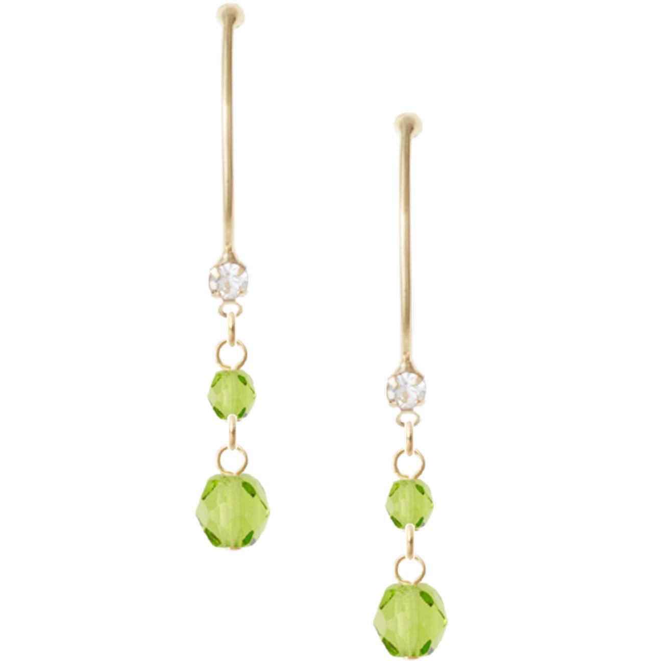 新緑の季節によく映えるゴールド&グリーンのピアス