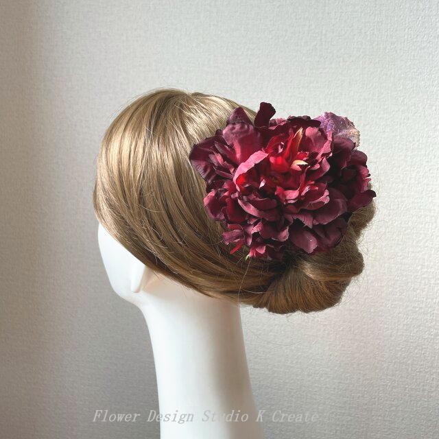 バーガンディのピオニーとボルドーリーフのヘッドドレス 芍薬 髪飾り フローレス フラメンコ