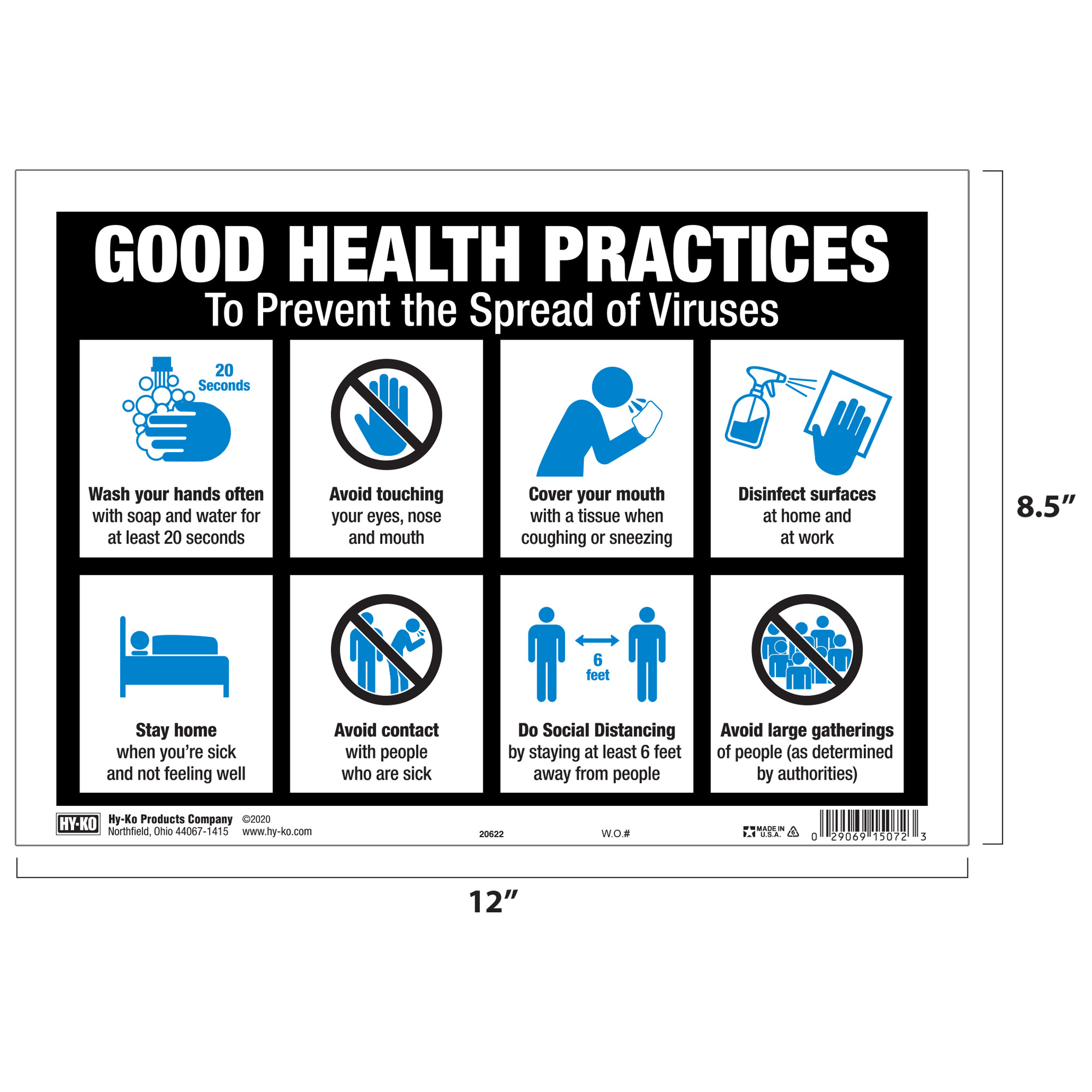 【HY-KO】Good Health Practices Sign, 12 x 8.5 inch, 8 Healthy Reminders  グラフィックプラスチックサイン 5 x 7インチ