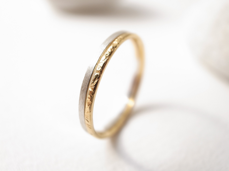 【set ring】silver950/thin & K18YG/stardust