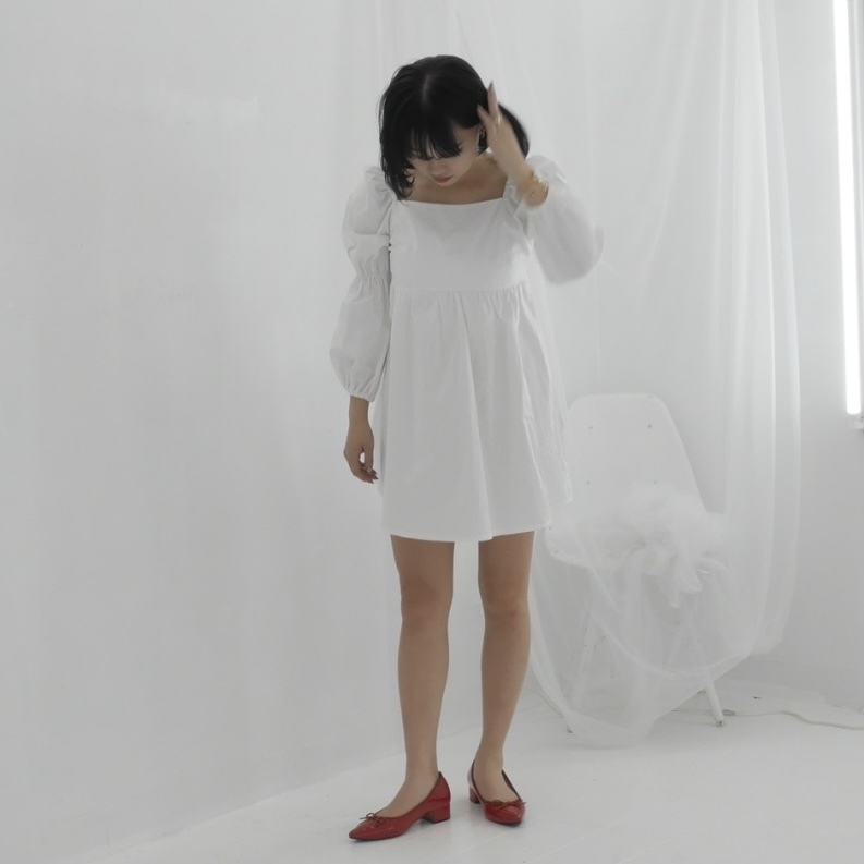 【Belle】baby back ribbon onepiece / white