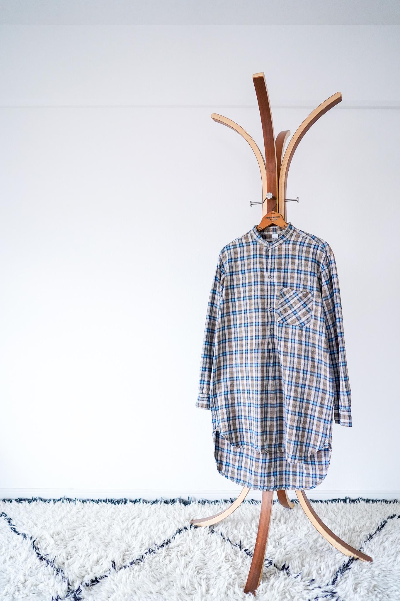 "【1950-60s】""French Made"" Euro Vintage Grandpa Shirts / v544"