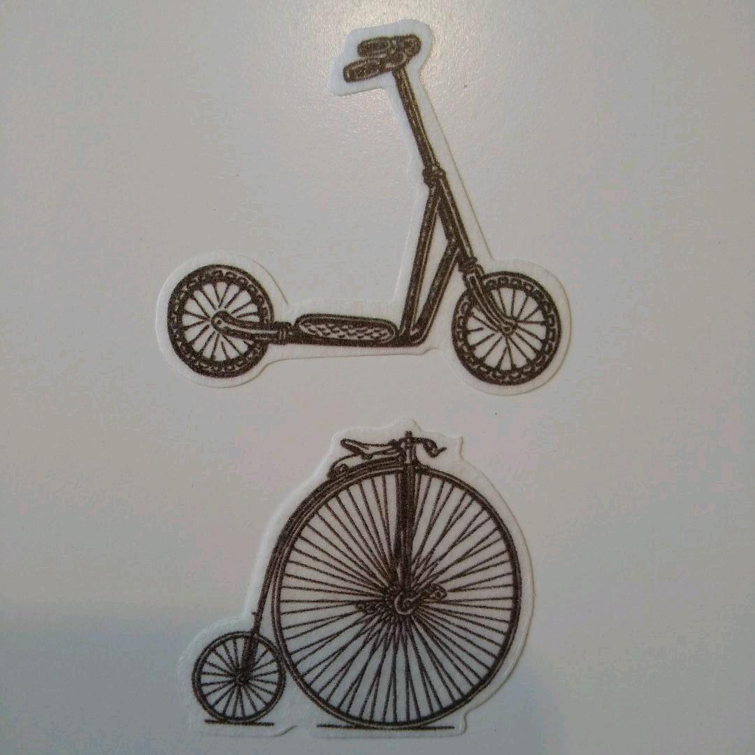 フレークシール 60枚 自転車 車 アンティーク調 コラージュ ジャンクジャーナル ヴィンテージ 素材 デコレーション J109