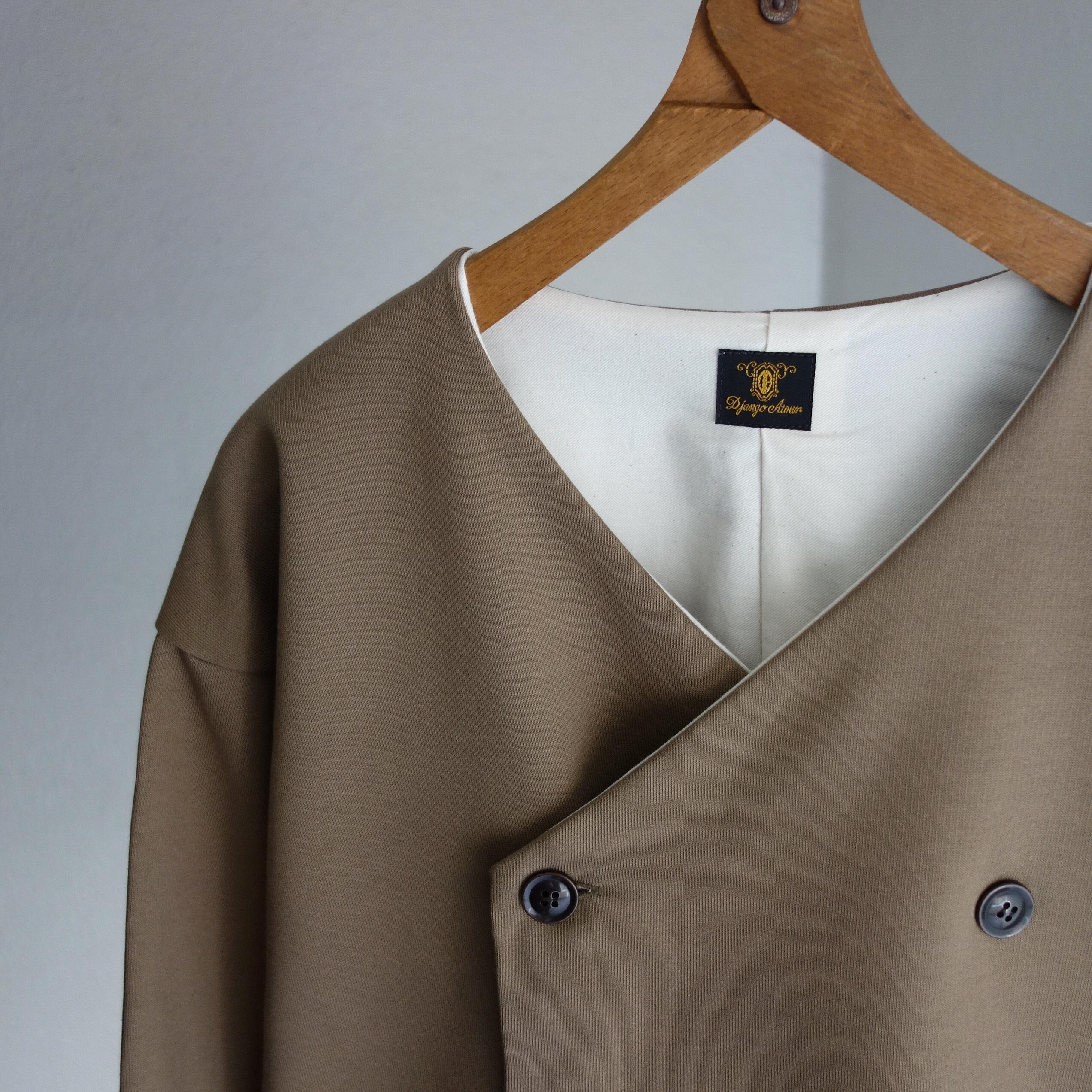 classic volendam no-collar jacket / d.beige