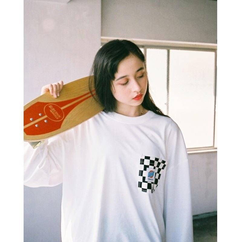 【DARGO】Working Pocket Wide Long T-shirt (CHECKER / WHITE)