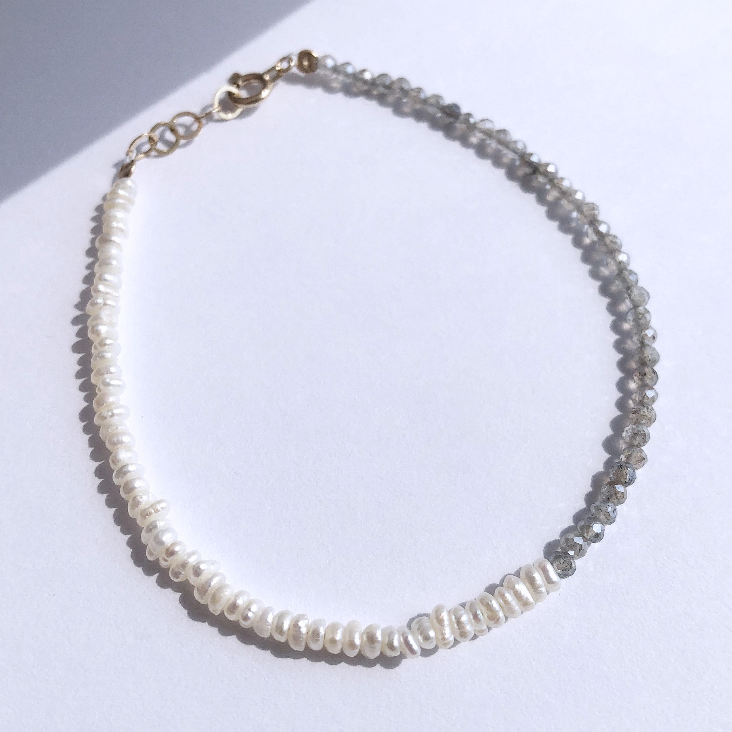 K10YG Labradrite x Baroque Pearl Bracelet / チャリティージュエリー