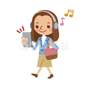 イラスト素材:スマートフォンで音楽を聴きながら歩く若い女性(ベクター・JPG)