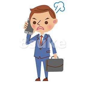 イラスト素材:スマートフォンで通話する若いビジネスマン/怒った表情(ベクター・JPG)
