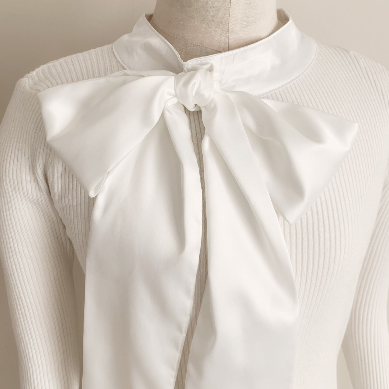 【meltie】chiffon ribbon tie knit