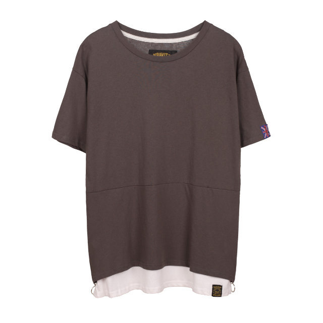 KRAVITZ サイドジップ レイヤード Tシャツ 〈Grey〉