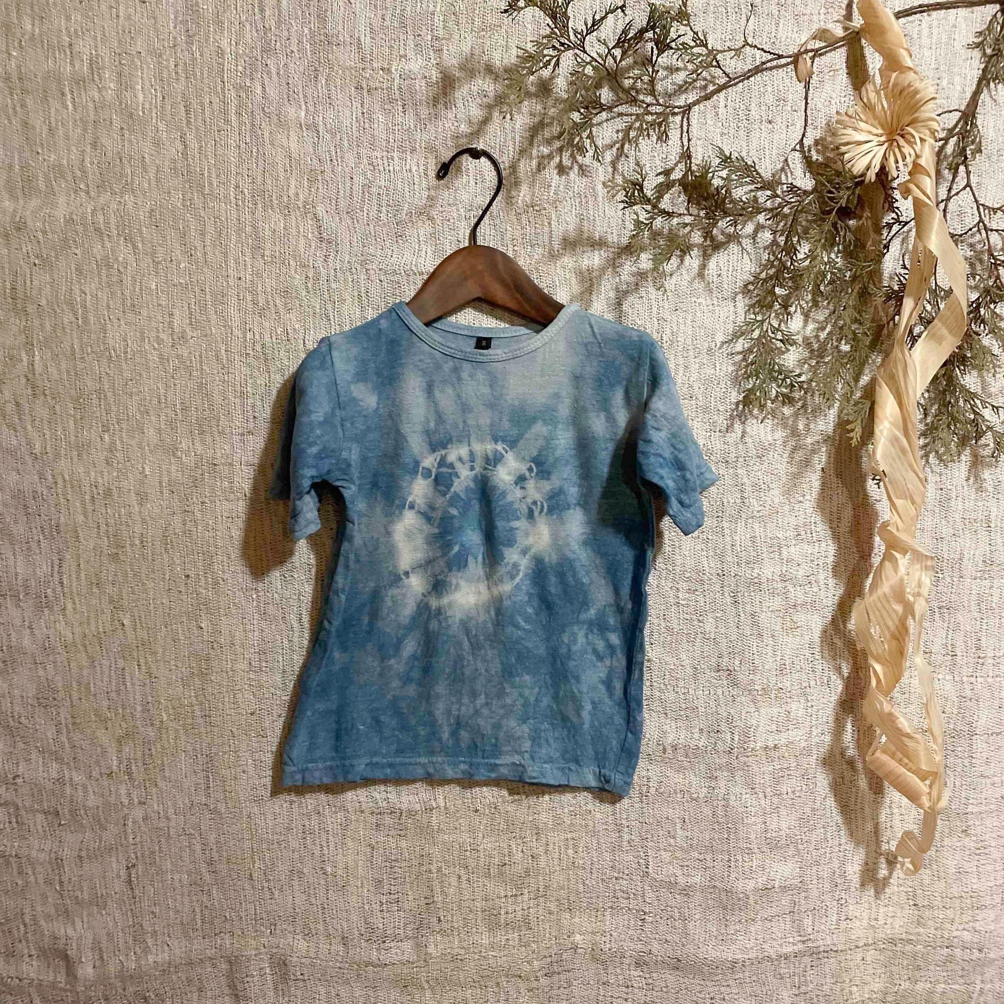 【天然素材・草木染め】キッズTシャツ ヘンプコットン 藍染Sサイズ