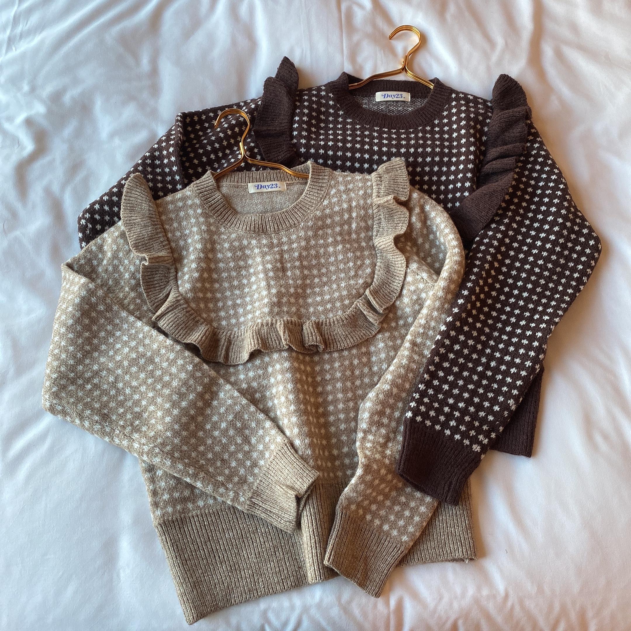 check frill knit
