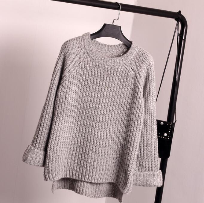 ざっくりケーブル編みニットセーター ライトグレー
