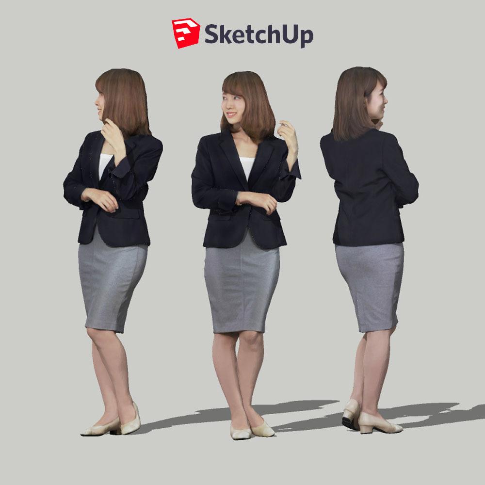 SketchUp素材 3D人物モデル ( Posed ) 013_Kana - 画像1